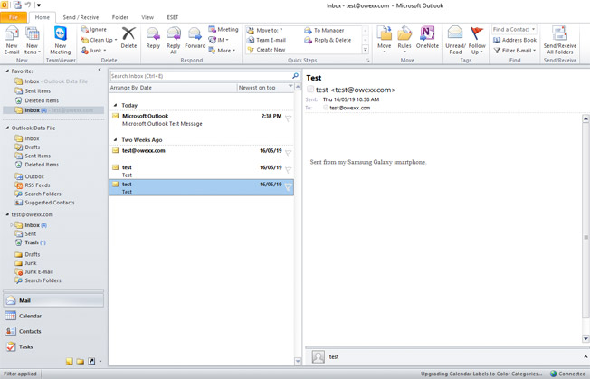 """Microsoft Outlook"" E-mail configuration"